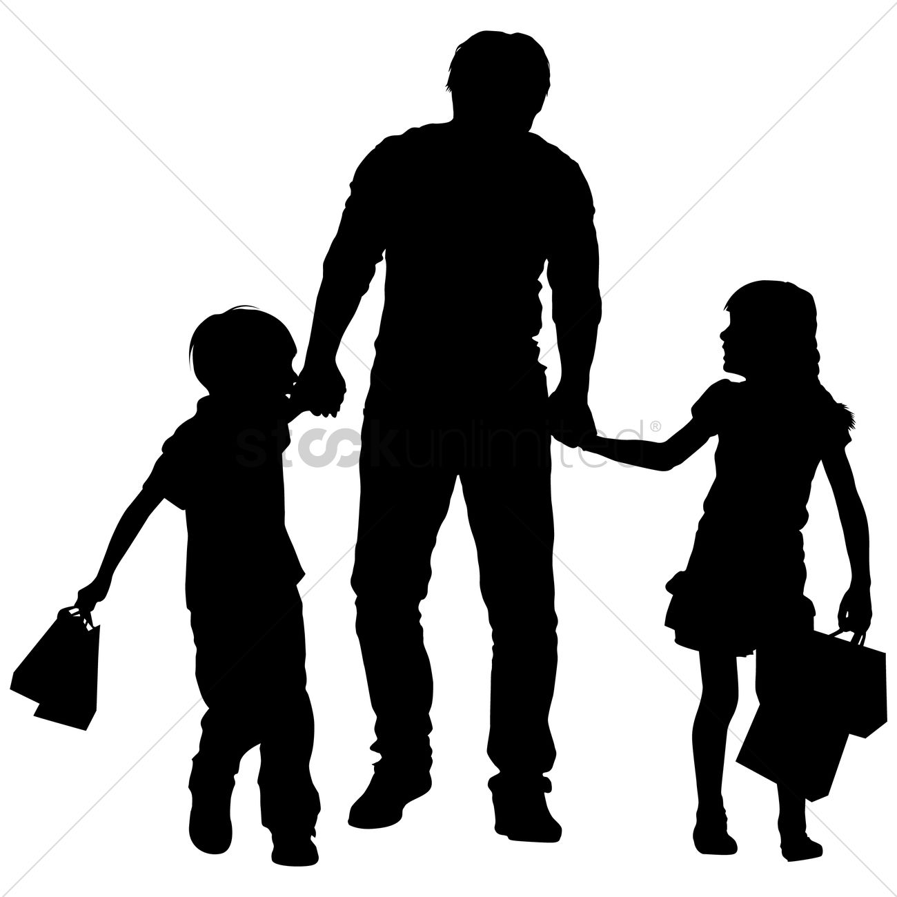 father silhouette silhouette of a father and kids shopping vector image silhouette father