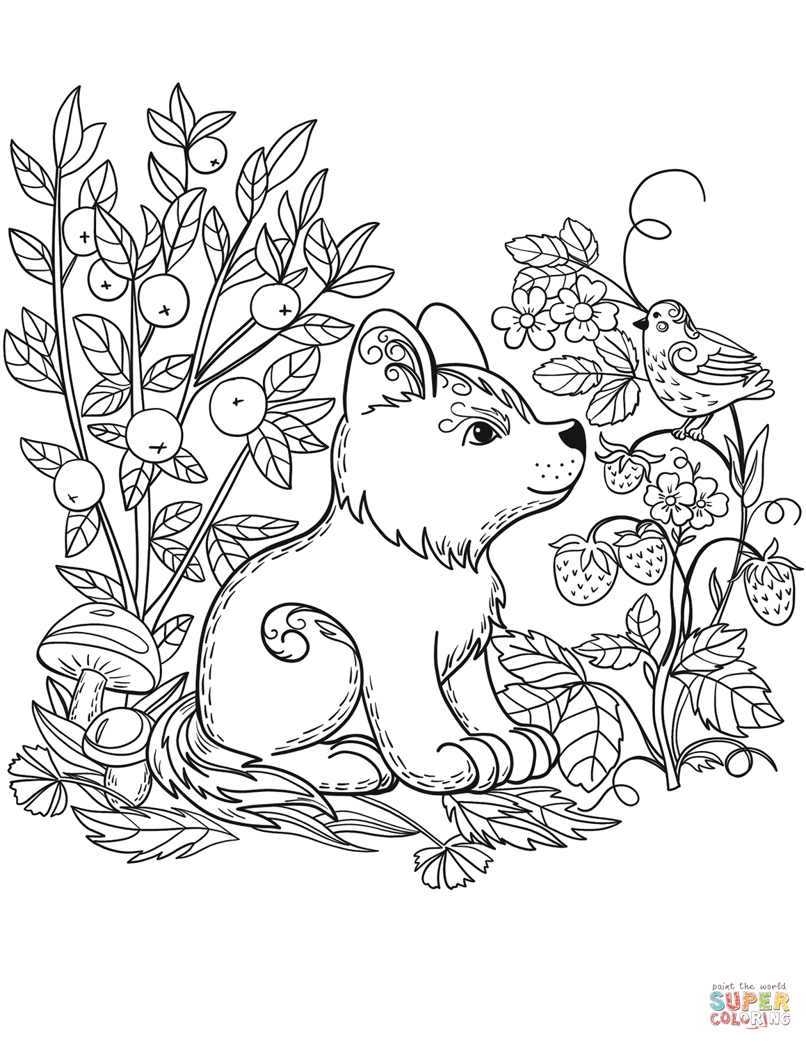 forest animals coloring pages coloring pages wild animals little cute fox looks at the animals coloring forest pages