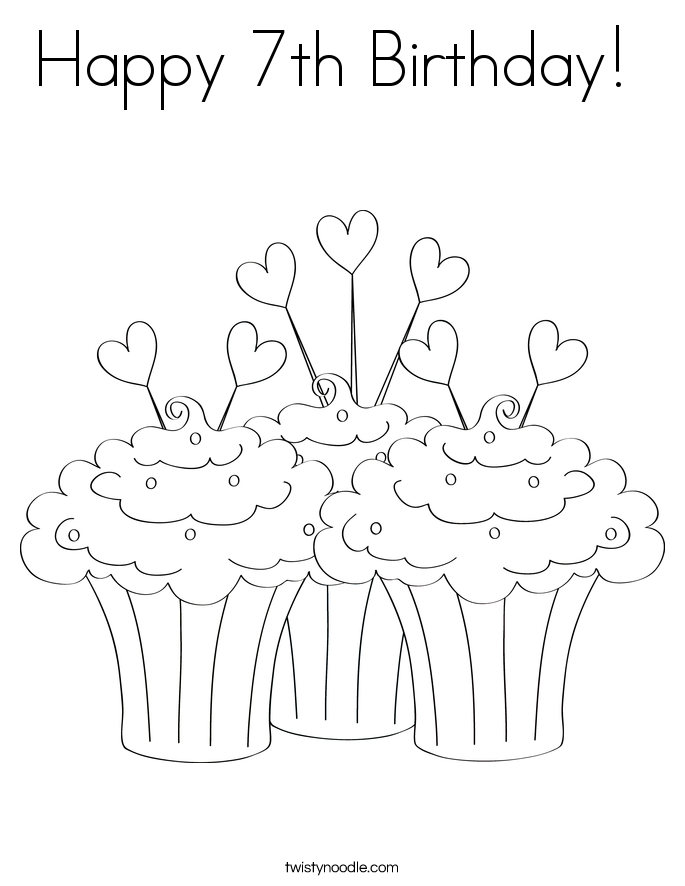 happy 7th birthday coloring pages happy 7th birthday black and white coloring page coloring birthday 7th pages happy