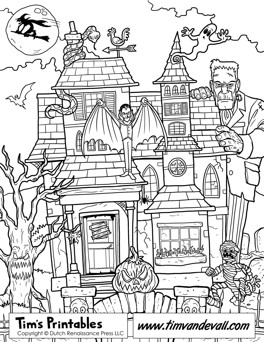 haunted house coloring pages printables free printable haunted house coloring pages for kids coloring house printables pages haunted