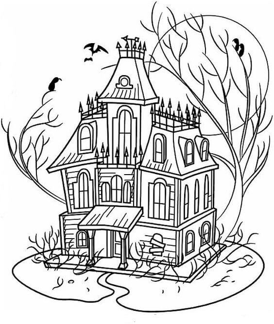 haunted house coloring pages printables top 25 free printable haunted house coloring pages online pages house printables haunted coloring
