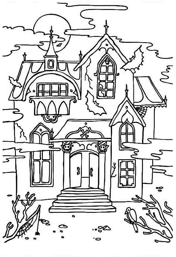 haunted house to color free printable haunted house coloring pages for kids house haunted color to