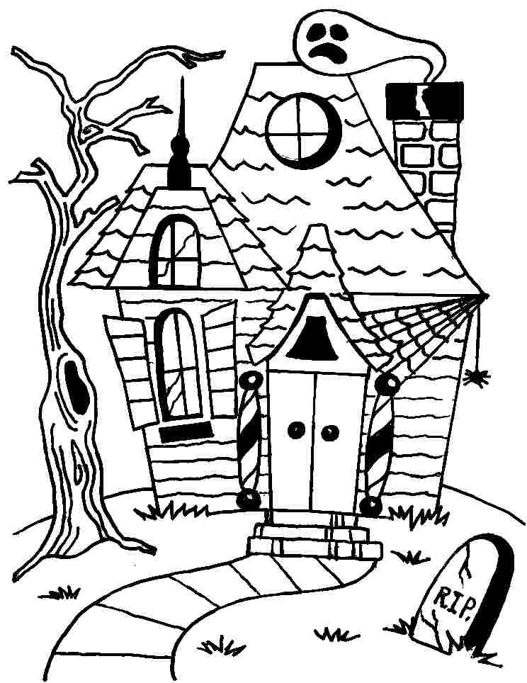 haunted house to color house outline drawing at getdrawings free download haunted house color to