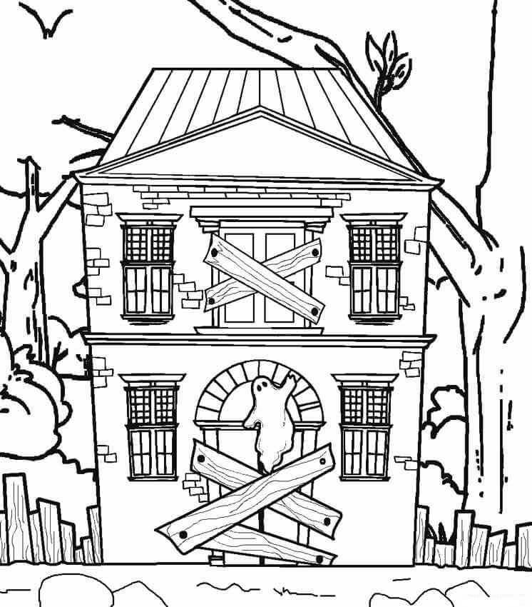 haunted house to color printable haunted house coloring pages for kids cool2bkids color haunted to house