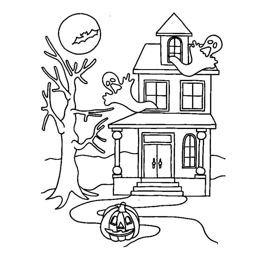 haunted house to color printable haunted house coloring pages for kids cool2bkids color house haunted to