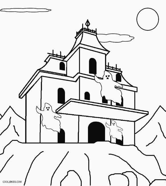 haunted house to color printable haunted house coloring pages for kids cool2bkids haunted color to house