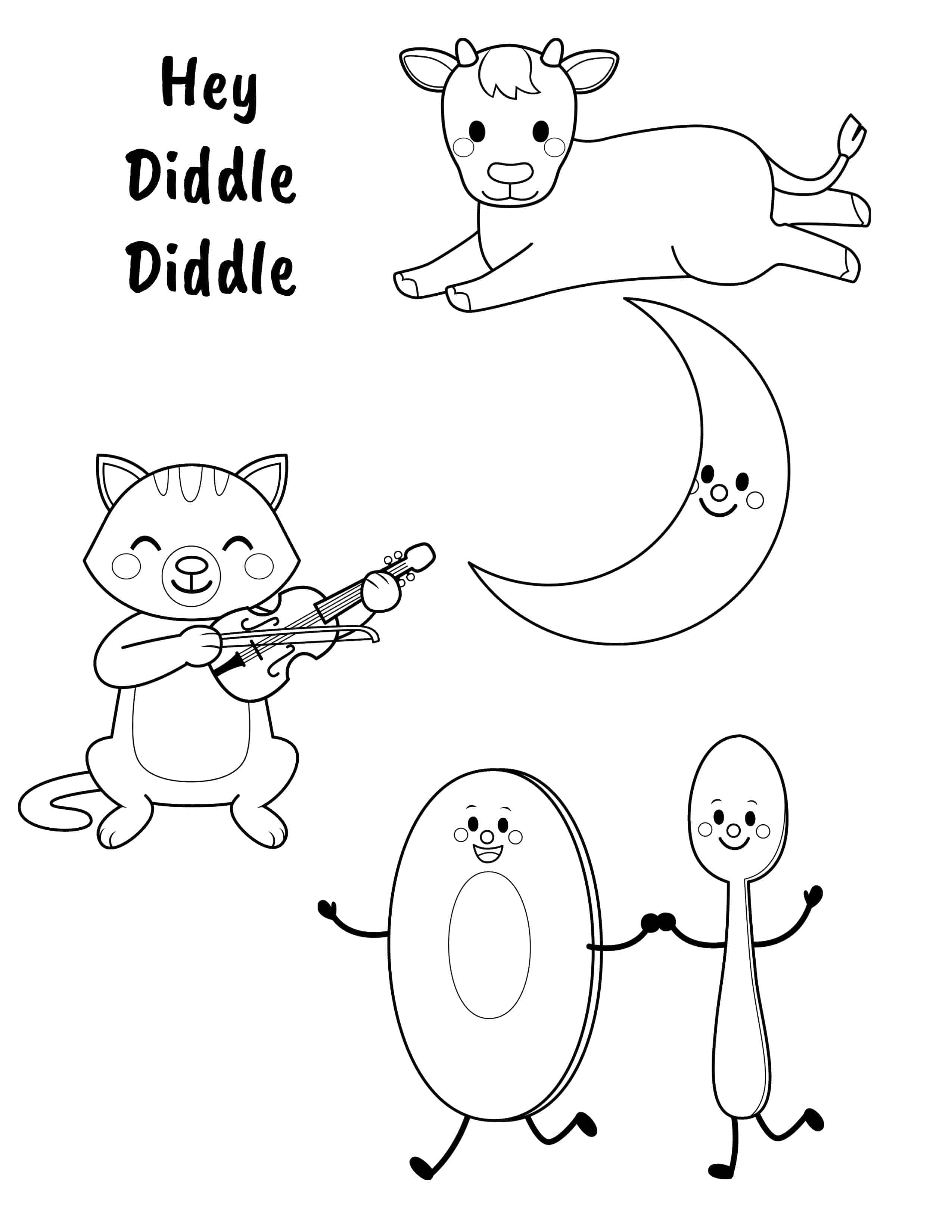 hey diddle diddle coloring sheet hey diddle diddle coloring page coloring pages for kids diddle diddle coloring sheet hey