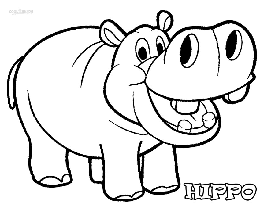 hippo coloring hippo outline drawing at getdrawings free download coloring hippo