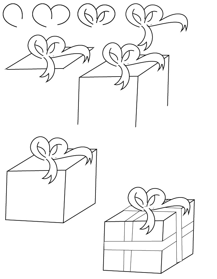 how to draw a christmas present how to draw a christmas present with a bow youtube christmas present draw how to a