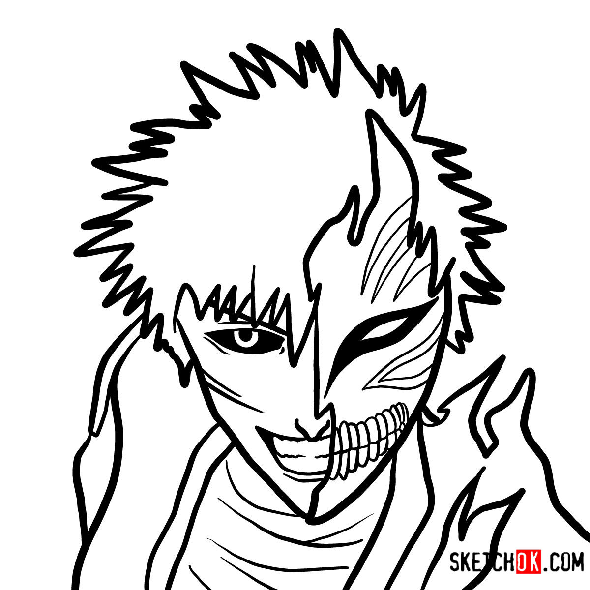 how to draw ichigo how to draw ichigo kurosaki in a mask bleach step by how to ichigo draw