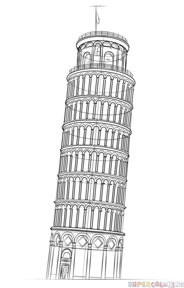 leaning tower of pisa drawing how to draw the leaning tower of pisa step by step leaning tower drawing of pisa