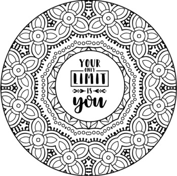 positive quote mandala coloring pages adult coloring page inspirational quote printable quote pages coloring mandala positive