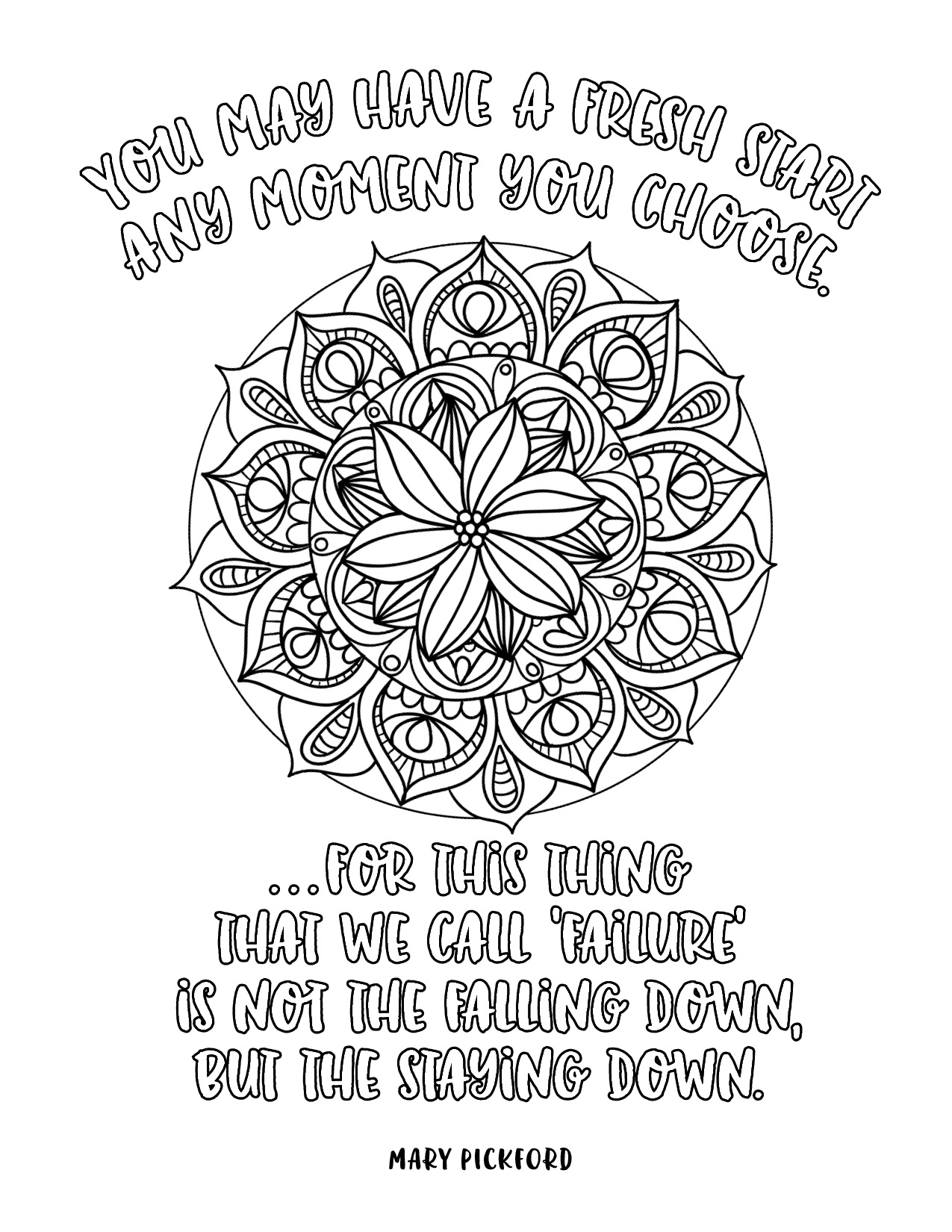 positive quote mandala coloring pages growth mindset coloring pages printable mandala quote positive pages coloring mandala