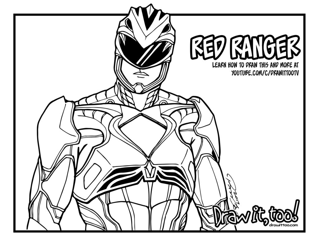 power ranger color pages red ranger power rangers 2017 movie draw it too ranger color pages power