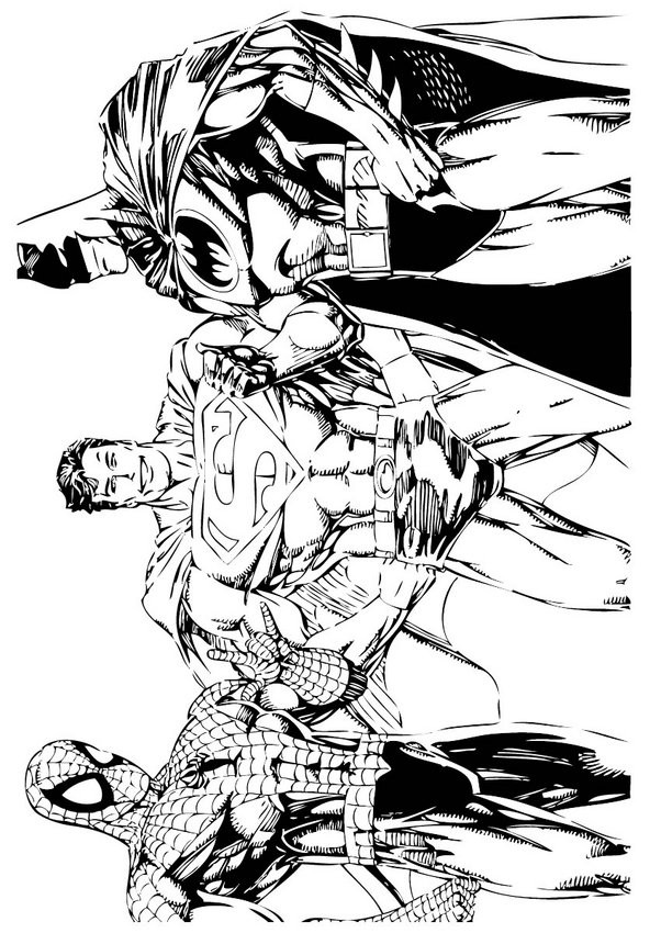 spiderman batman superman coloring pages batman spiderman and superman coloring pages hellokidscom superman spiderman batman coloring pages