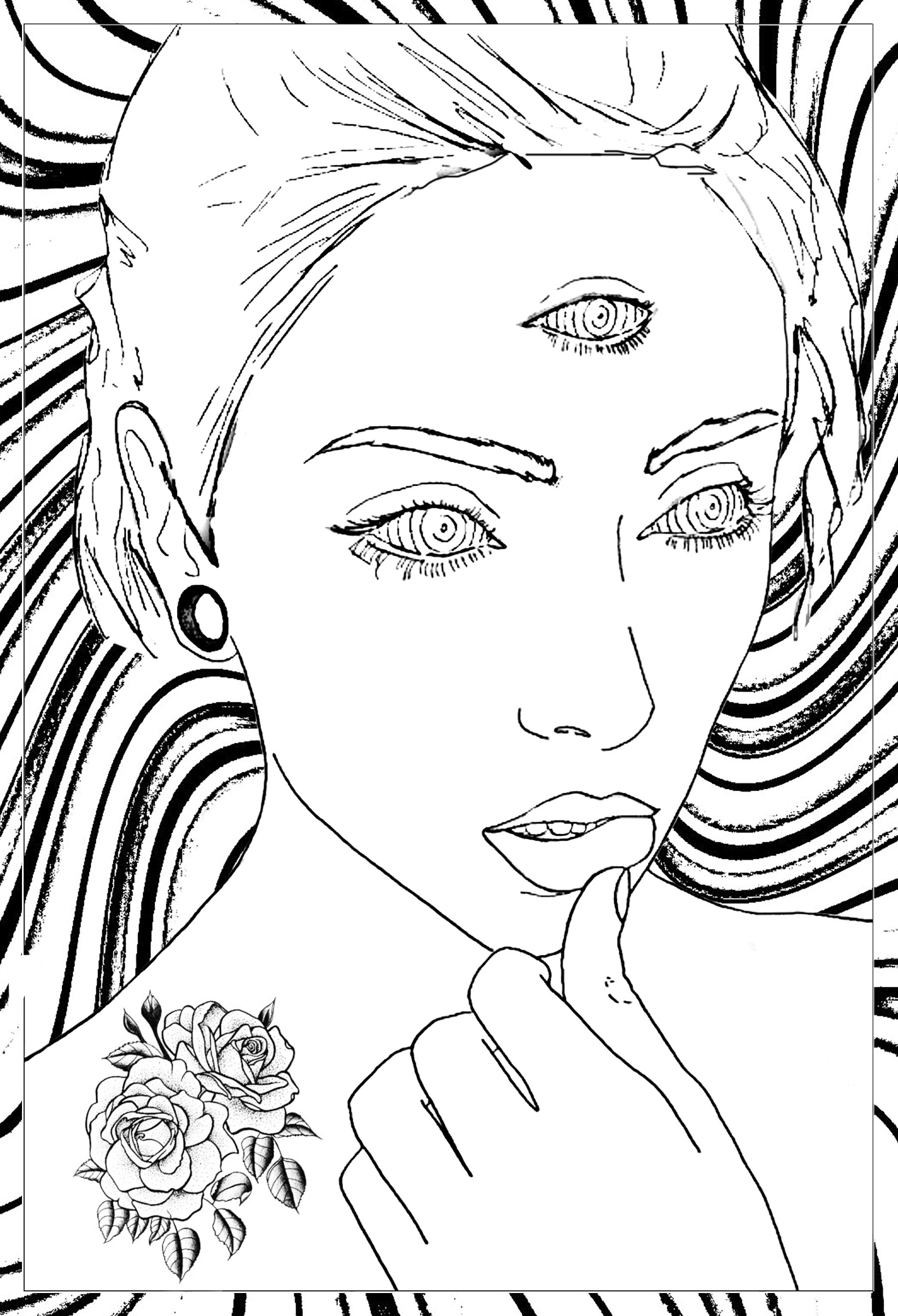 trippy coloring pages mystic thoughtful woman psychedelic adult coloring pages trippy coloring pages