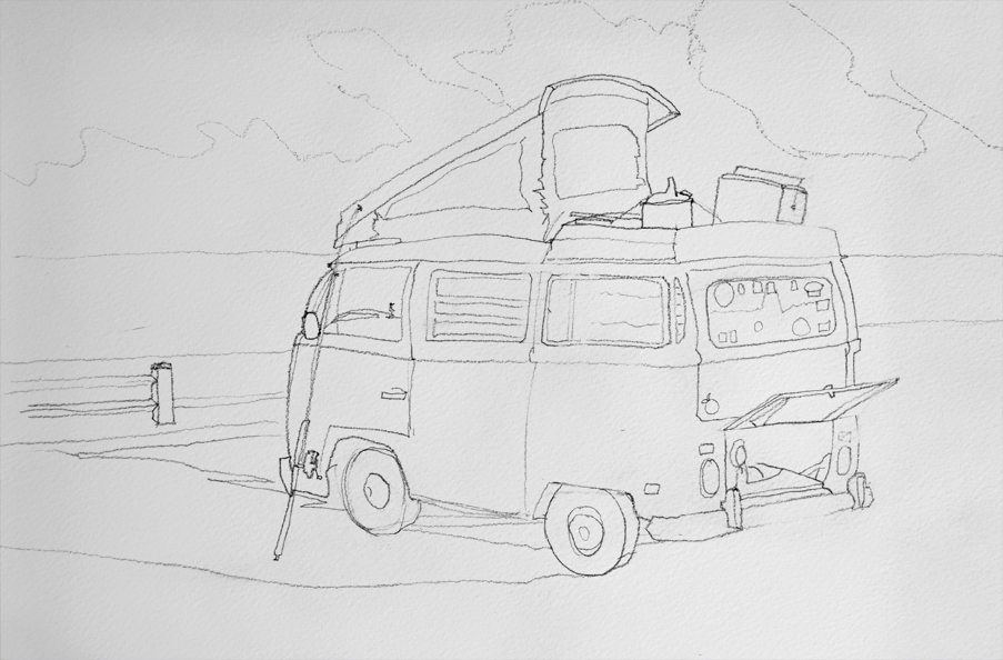 van drawing old vw bus camper van drawing pj cook artist studio van drawing