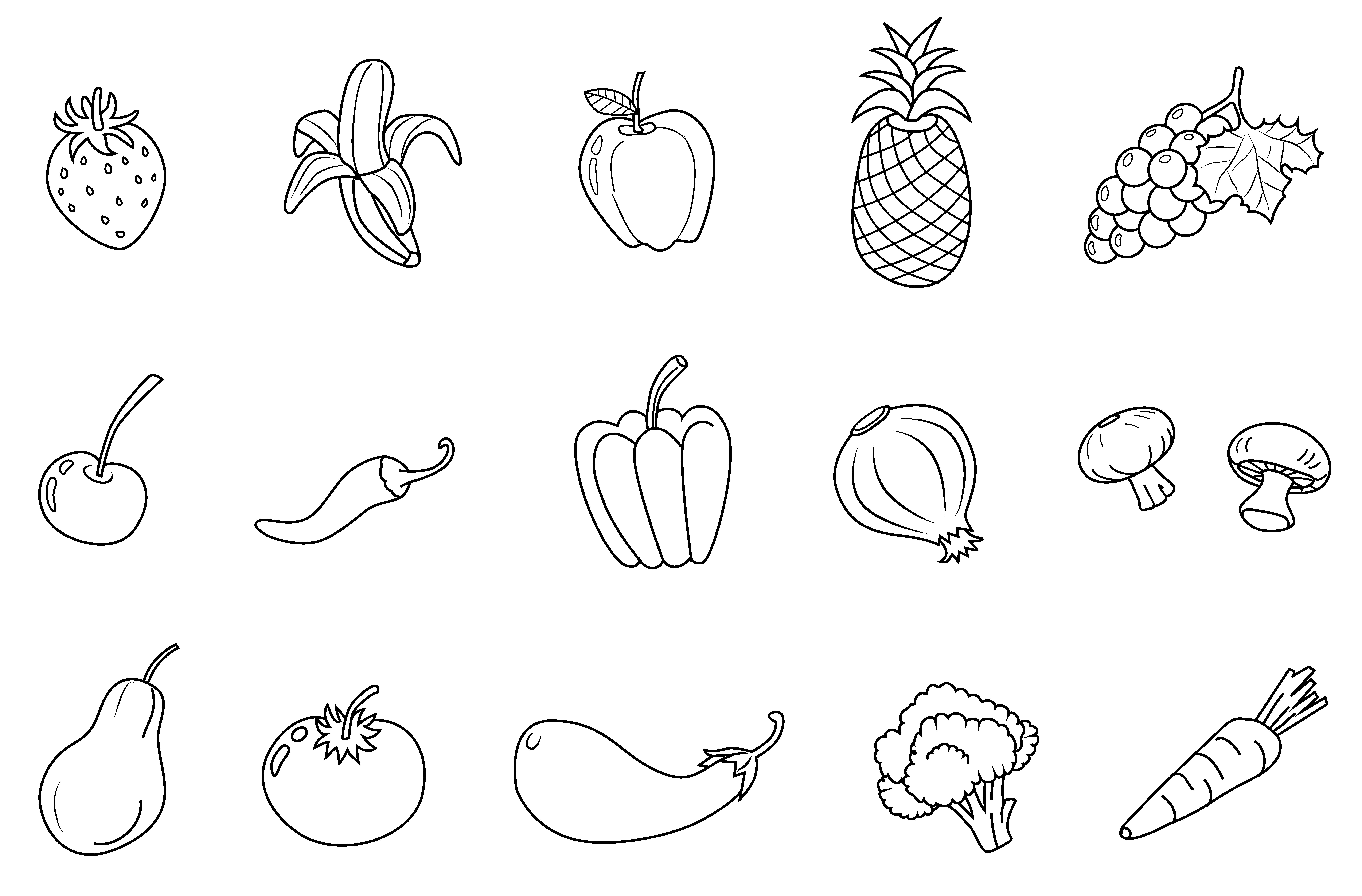 vegetable images for coloring coloring pages of fresh fruit and vegetables team colors images for vegetable coloring