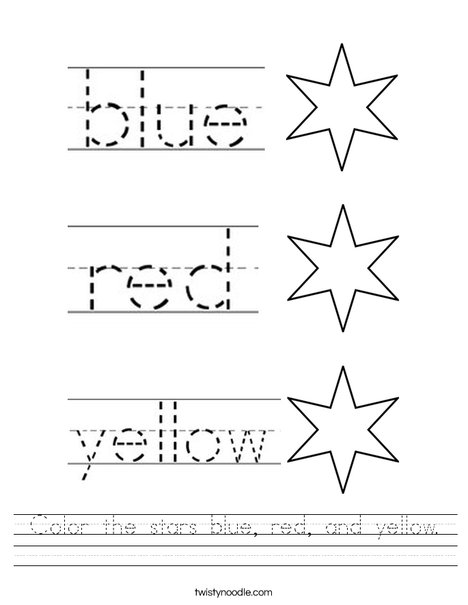 video star coloring red color the stars blue red and yellow worksheet twisty red coloring star video