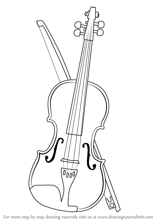 violin outline drawing how to draw a violin step by step drawingnow drawing violin outline