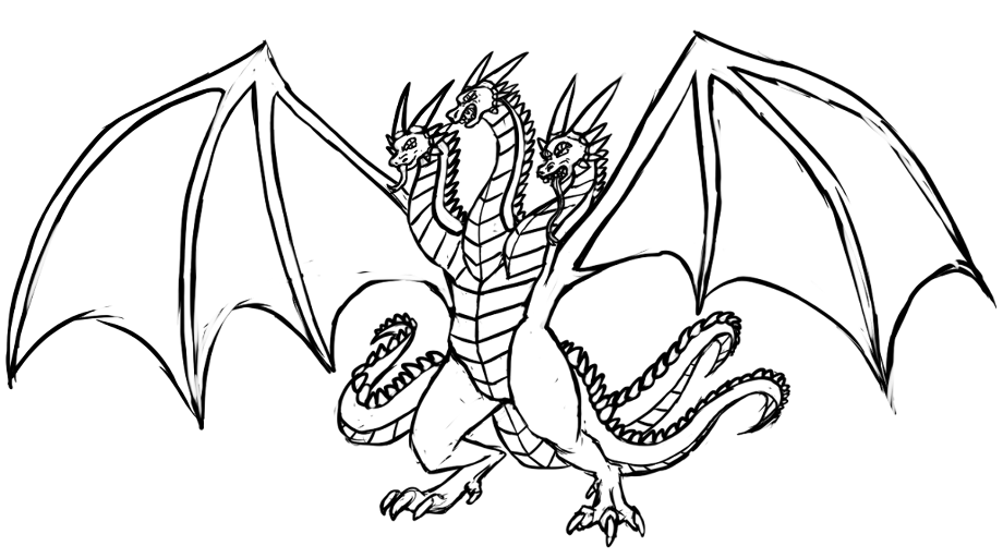 3 headed dragon coloring pages 3 headed cyber dragon rough by ironshod on deviantart 3 coloring pages dragon headed