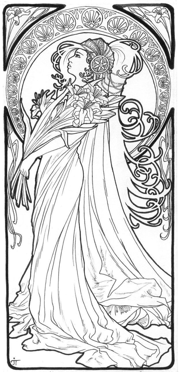 art nouveau coloring pages spring by alfons mucha coloring page free printable nouveau art pages coloring