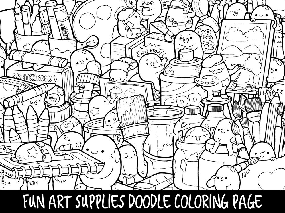 art pages to color art supplies doodle coloring page printable cutekawaii etsy pages color to art