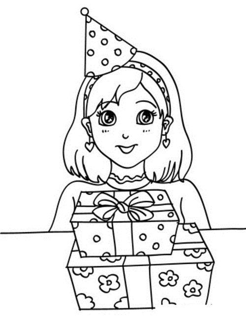 birthday girl coloring pages a little girl with happy birthday cake coloring page coloring girl birthday pages