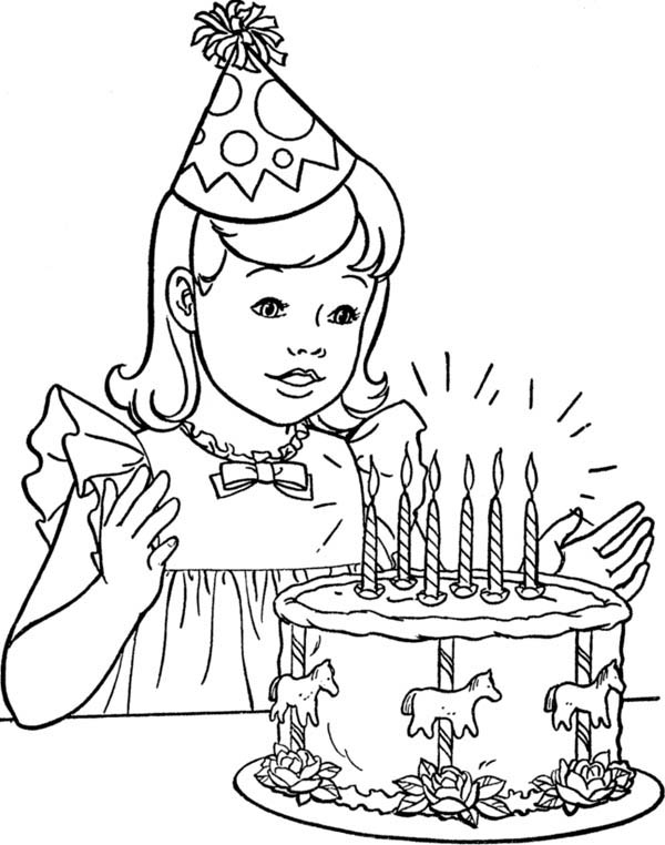 birthday girl coloring pages happy birthday girl blowing a horn coloring page color luna pages girl coloring birthday