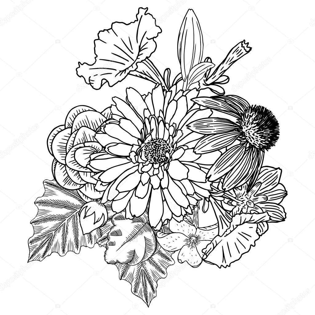 bouquet of flowers drawing bouquet of flowers line drawing at getdrawings free download of flowers bouquet drawing
