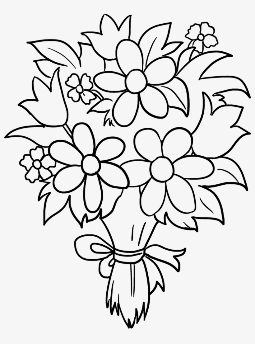 bouquet of flowers drawing bunch of flowers drawing at getdrawings free download flowers drawing bouquet of