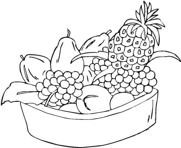bowl of fruit coloring page fruit bowls drawing at getdrawings free download coloring fruit bowl page of