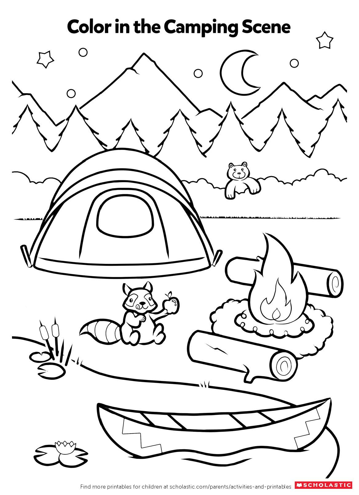 camping coloring pages for kids campfire coloring activity worksheets printables camping pages for coloring kids