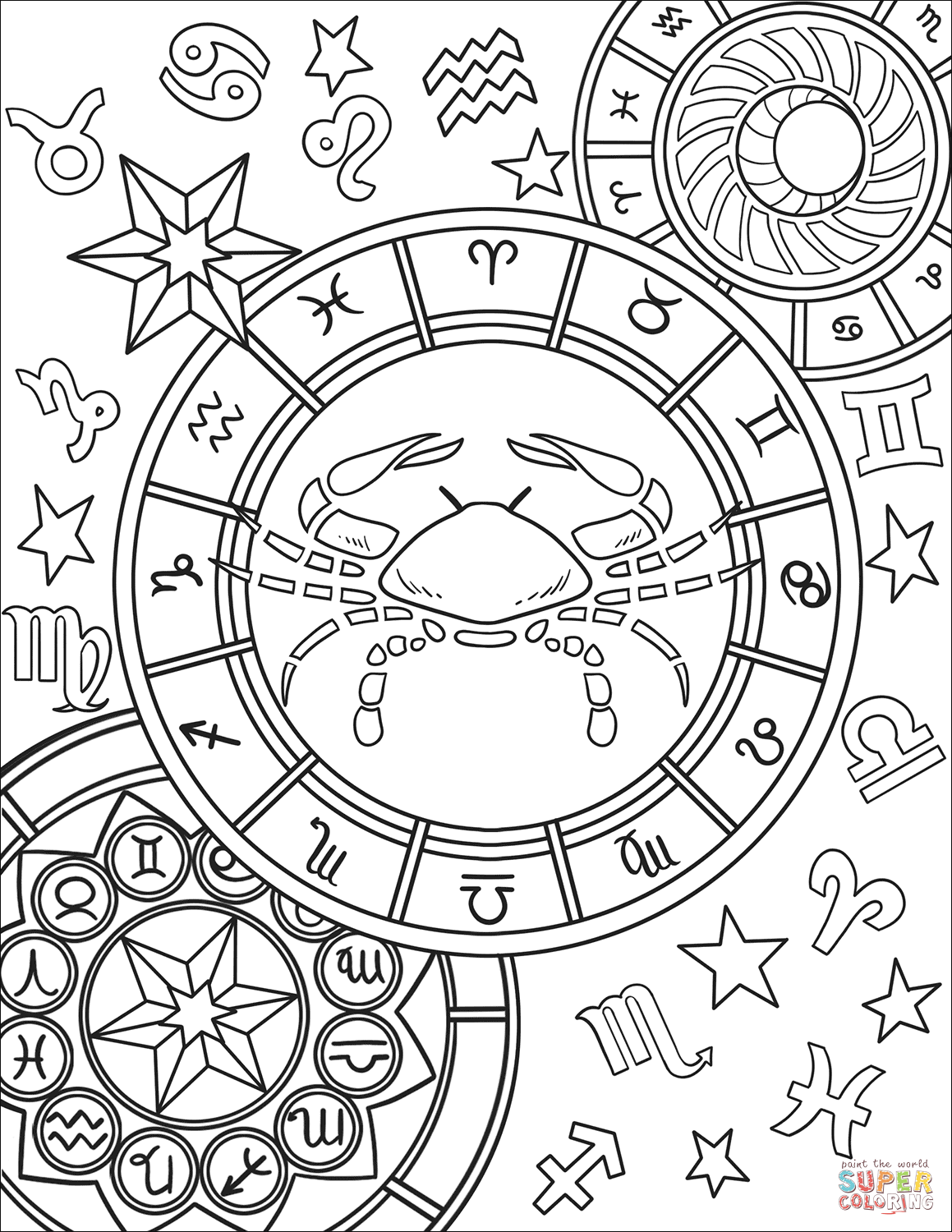 cancer zodiac coloring pages 350 best adult colouringzodiac signs images on pinterest cancer zodiac pages coloring