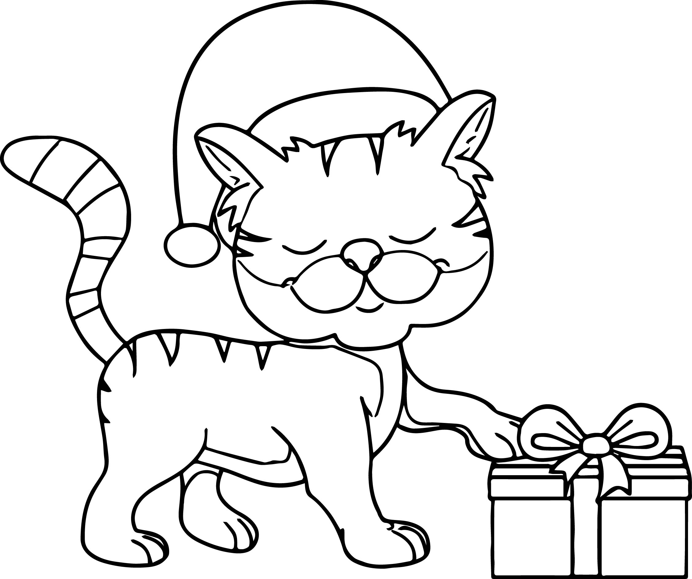 cat christmas coloring pages cat sleeping on christmas gift coloring page monster coloring cat christmas pages