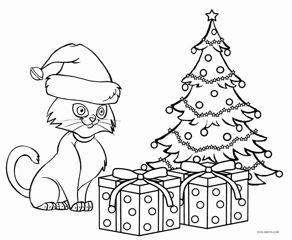 cat christmas coloring pages cats and kittens drawing at getdrawings free download christmas pages cat coloring