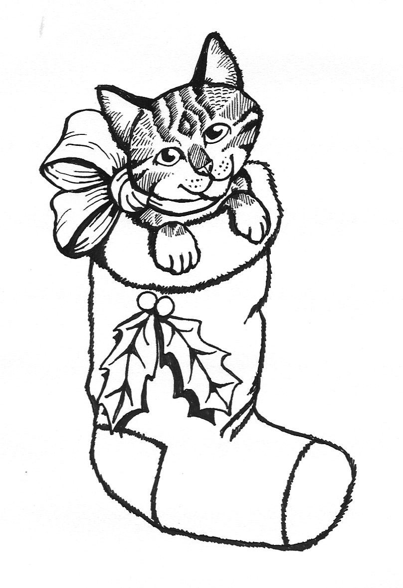 cat christmas coloring pages christmas coloring pages pages cat christmas coloring