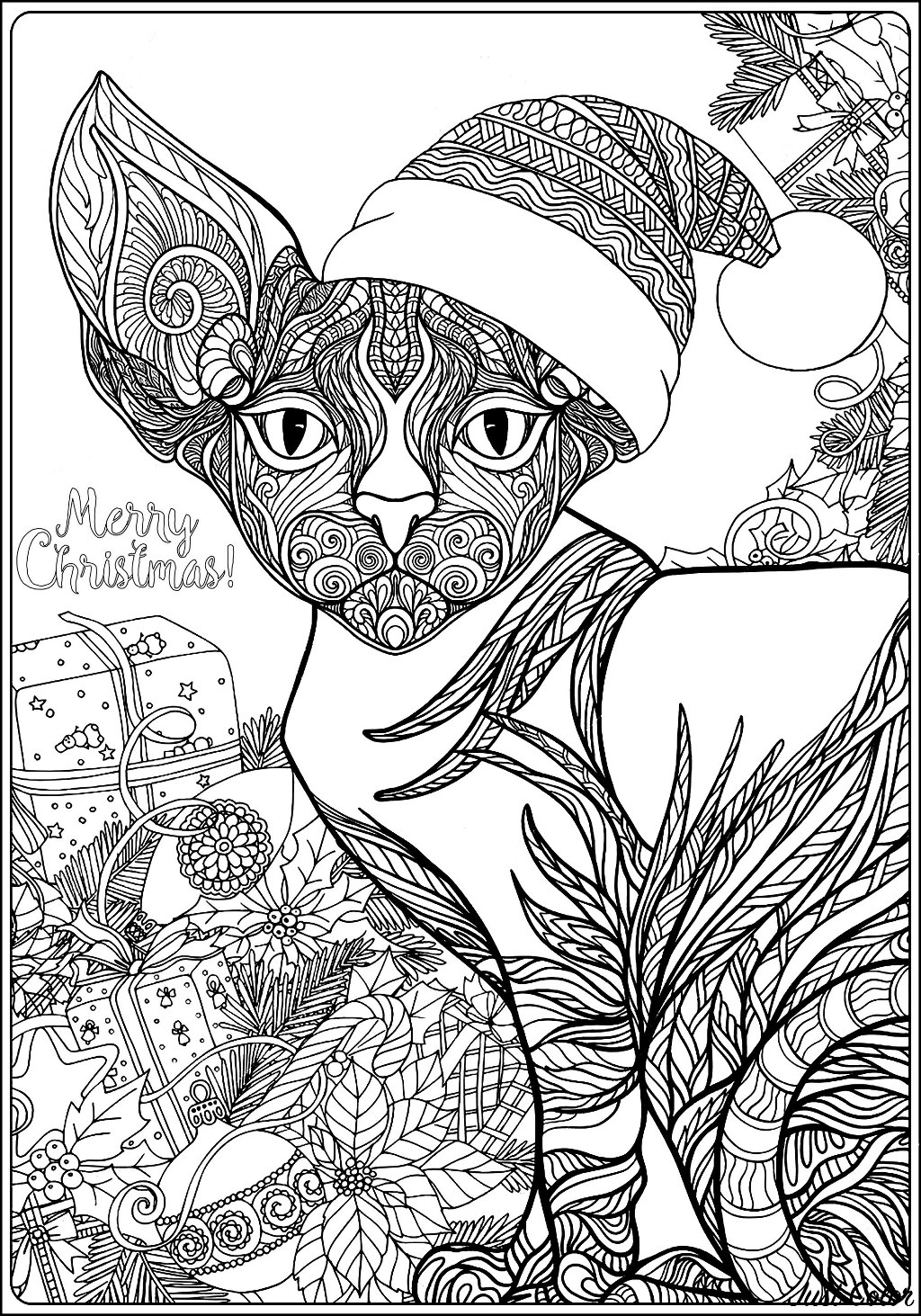 cat christmas coloring pages page de coloriage chat noël image vectorielle malyaka cat coloring pages christmas