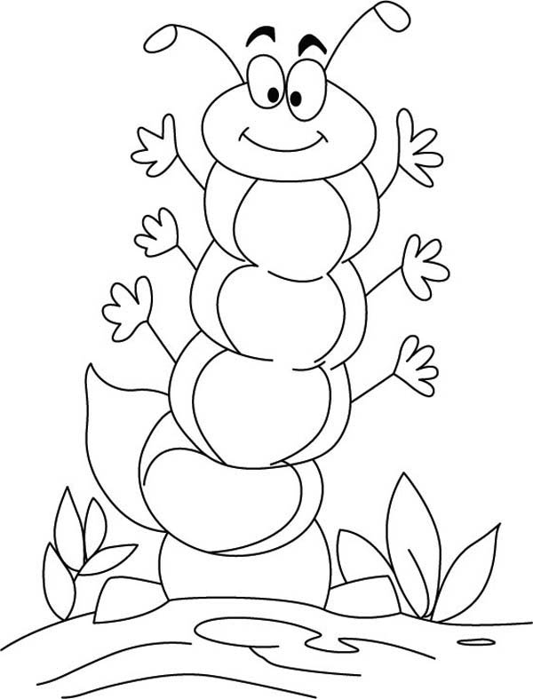caterpillar for coloring a friendly caterpillar wave all his hand coloring page coloring caterpillar for