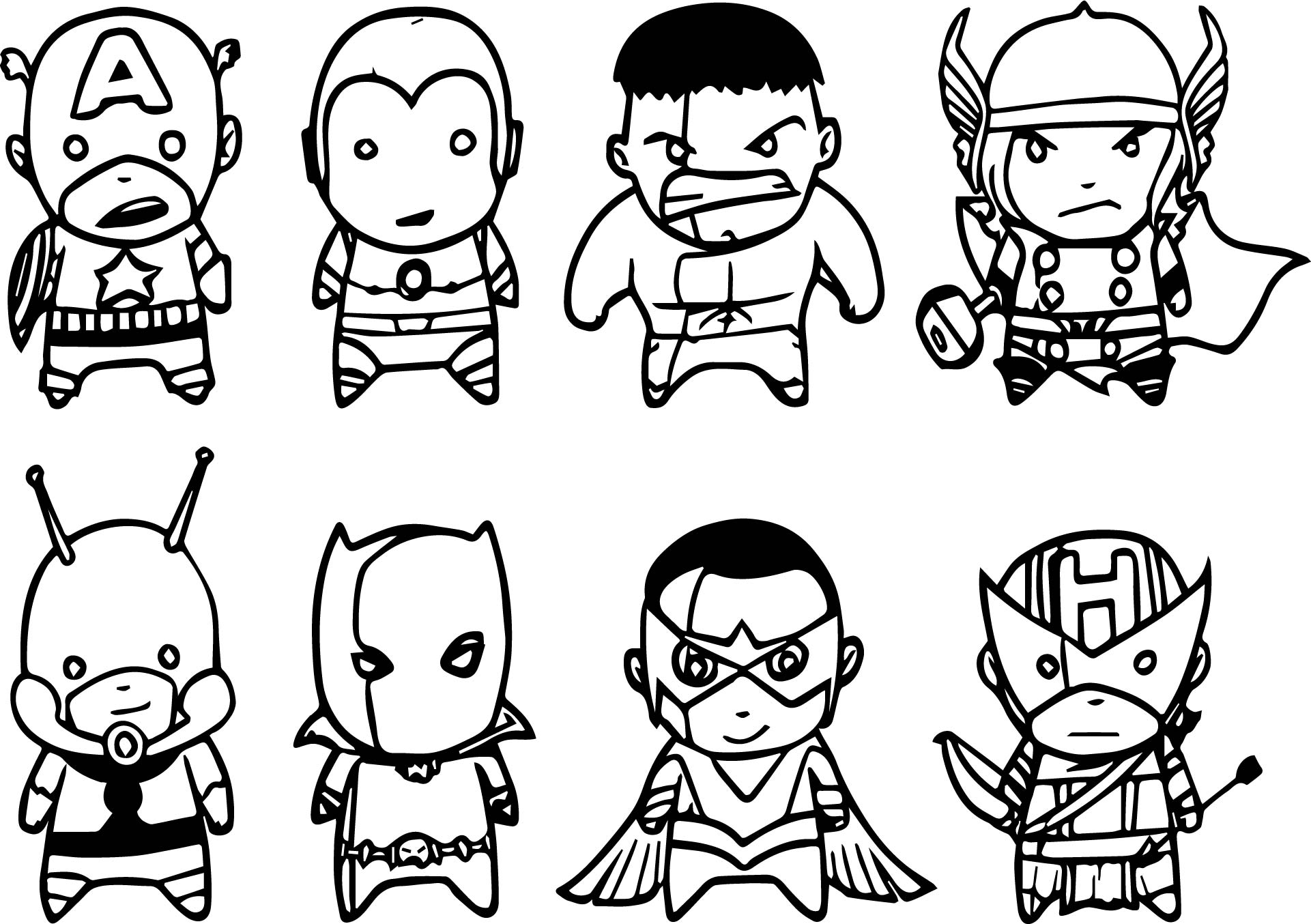 chibi avengers coloring pages awesome avengers chibi side coloring page with images pages chibi avengers coloring
