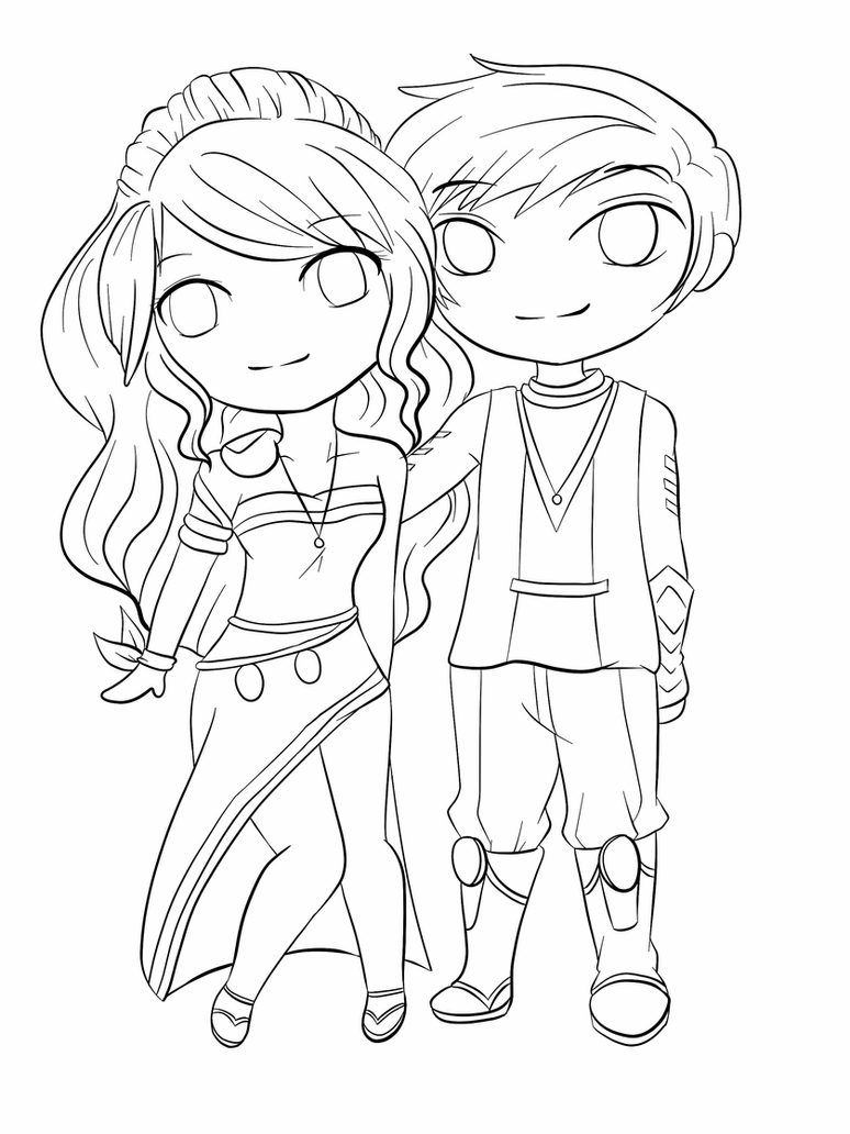chibi couple coloring pages couple commission lineart by yampuff on deviantart pages chibi coloring couple