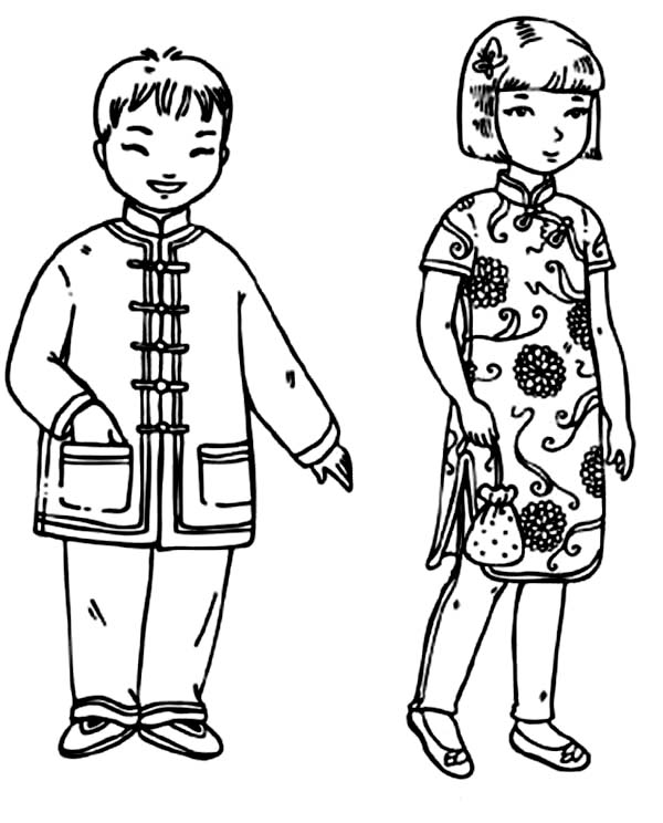 chinese coloring chinese kids from kids around the world coloring page chinese coloring