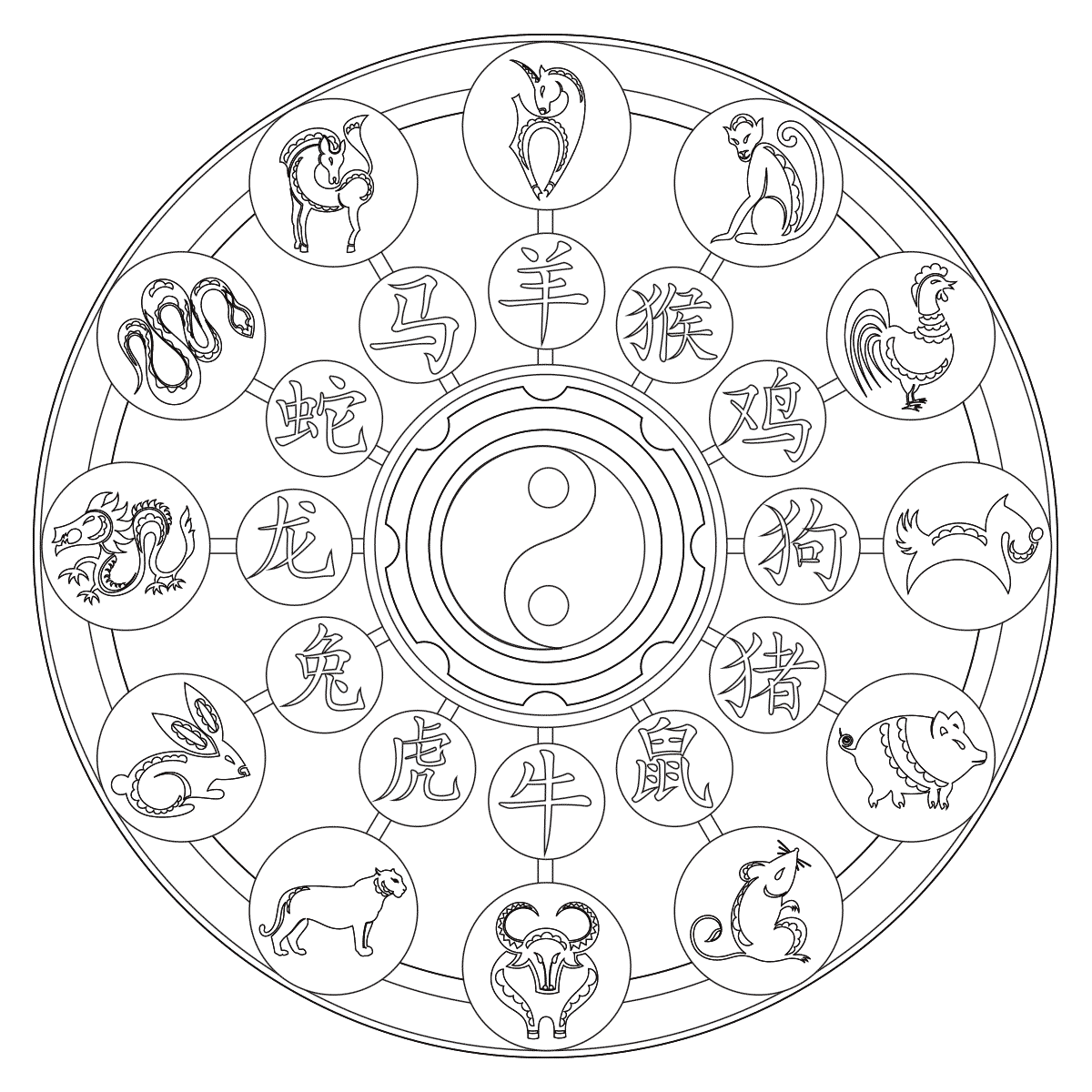 chinese coloring chinese zodiac coloring pages at getcoloringscom free coloring chinese