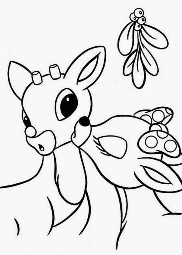 christmas coloring pages reindeer a cute christmas reindeer with glowing nose coloring page pages coloring christmas reindeer