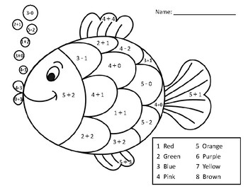 coloring activity for grade 5 adding and subtracting within 5 math coloring pagefish by coloring 5 for activity grade