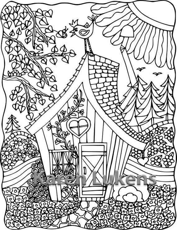 coloring adults pages happyville cabin 1 adult coloring book page printable adults pages coloring