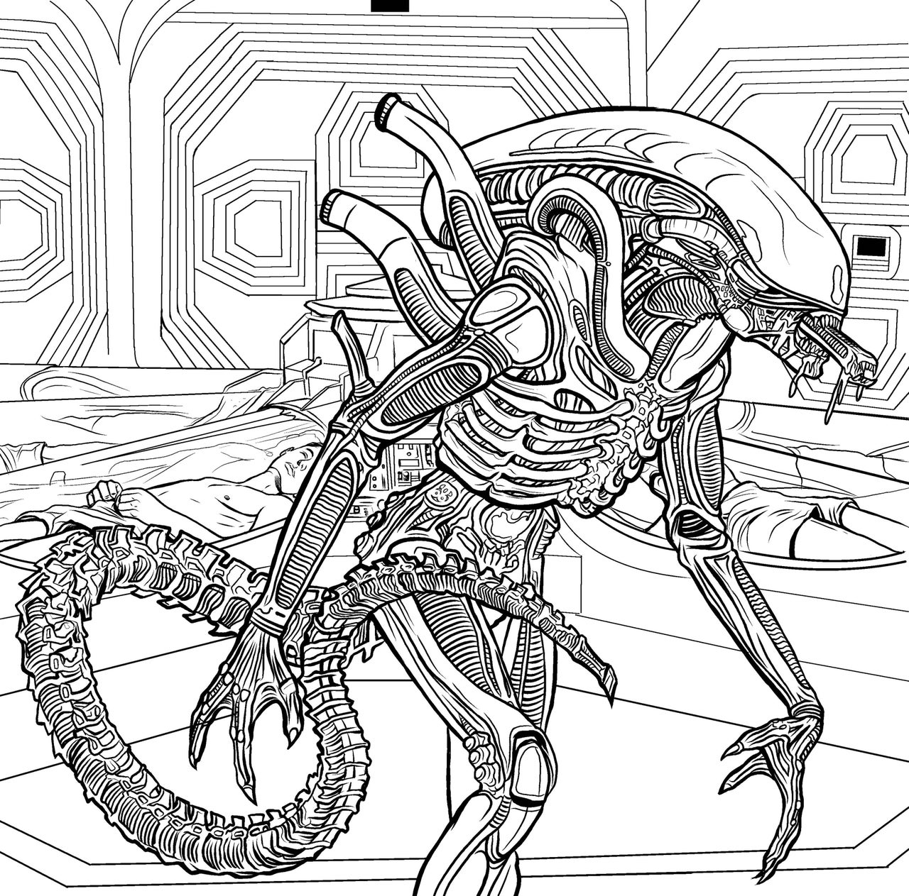 coloring alien the classic alien coloring page free printable coloring coloring alien