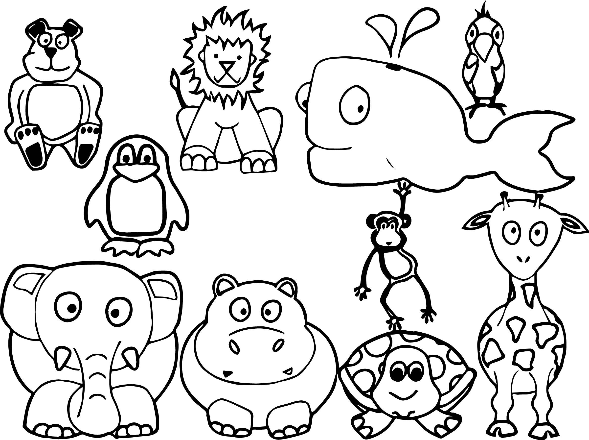 coloring animal kids cute jungle animals coloring page kids animal coloring