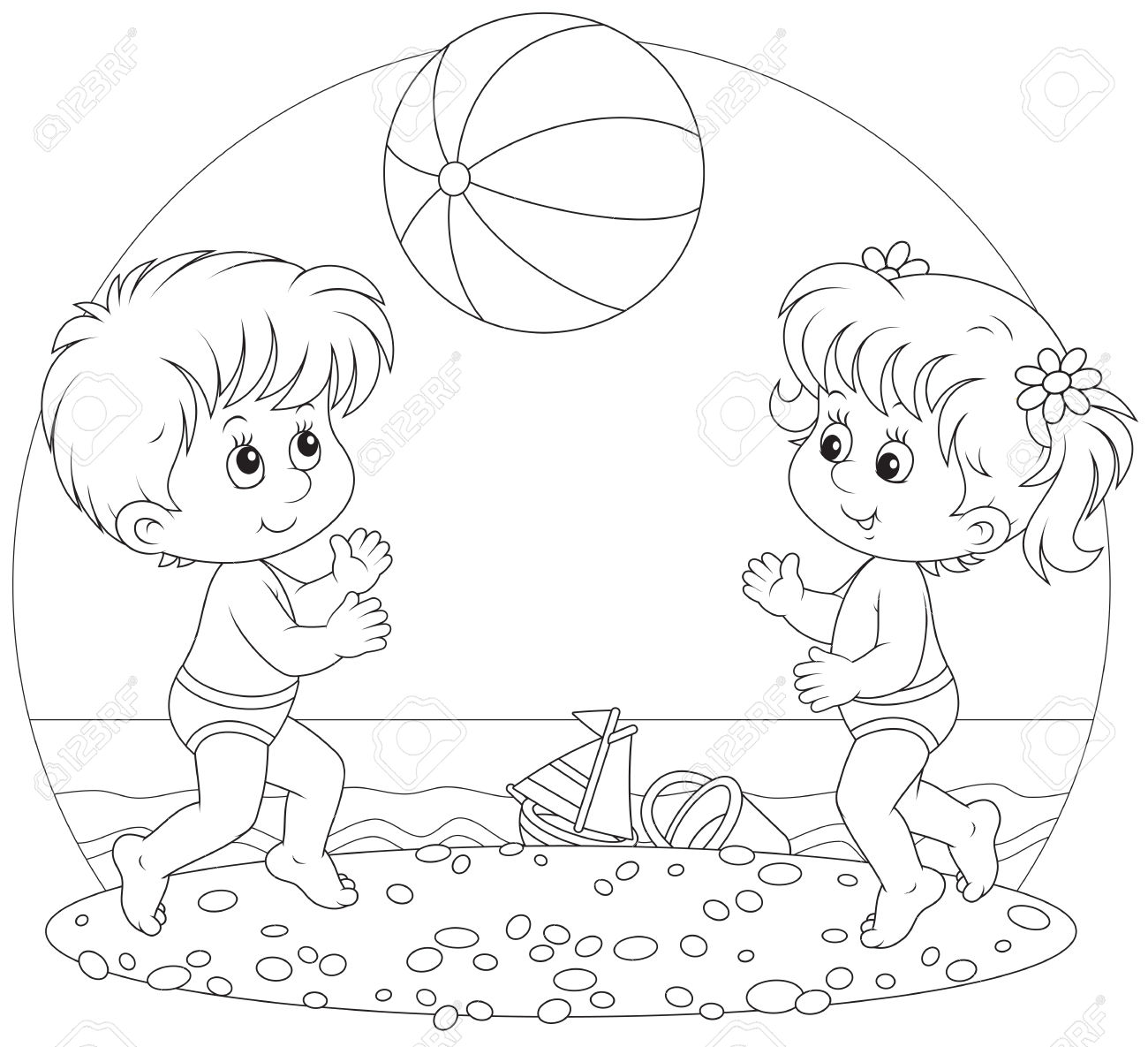 coloring beach clipart black and white clip art for summer scholastic black beach clipart coloring white and