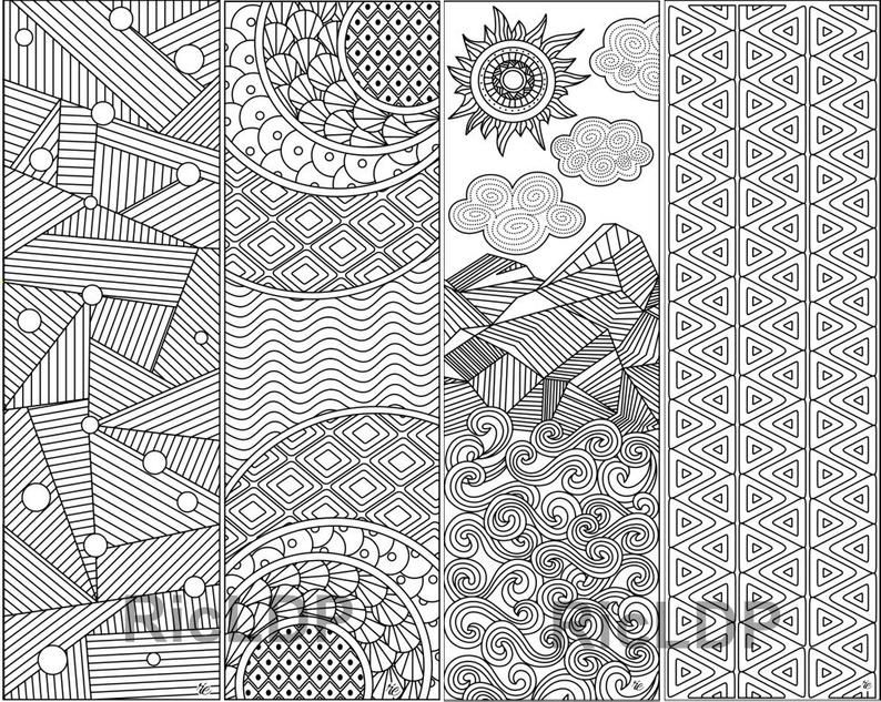 coloring bookmark template set of 8 coloring bookmarks with calming patterns bookmark coloring template